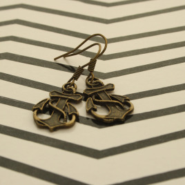 Bronze Anchor Earrings