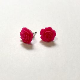 Large Pink Rose Earrings