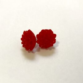 Red Dahlia Earrings