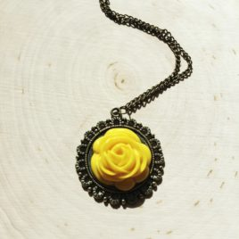 Framed Yellow Rose Necklace