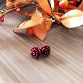 Rose Earrings in Bordeaux