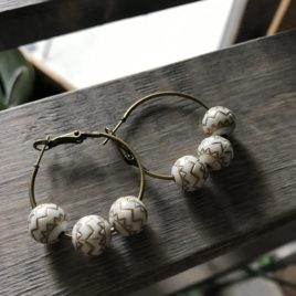 Ivory Beaded Bronze Hoop Earrings