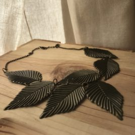 Bronze Leaf Statement Necklace