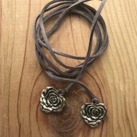 Rose Wrap Necklace (grey)