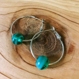 Aqua Bead Silver Hoop Earrings