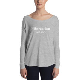 winter fashion, hibernation season long sleeve relaxed tee shirt,