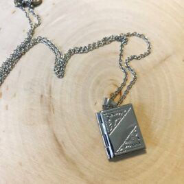 book shaped 925 silver locket