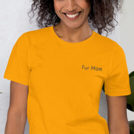 Fur Mom Embroidered Shirt in Gold