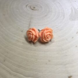 tangerine rose stud earrings
