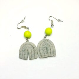 Polymer Clay Earrings – Granite/Wasabi