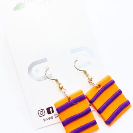 Orange/Purple Striped Earrings