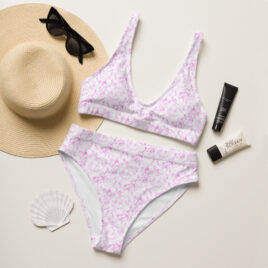 Pink Marble recycled high-waisted bikini